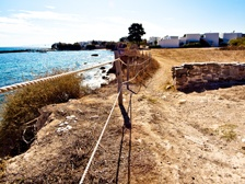 Footpath to Golden Beach with Drios pier in the background