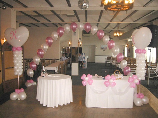 The gallery for hall decorations with balloons for Dining hall decoration
