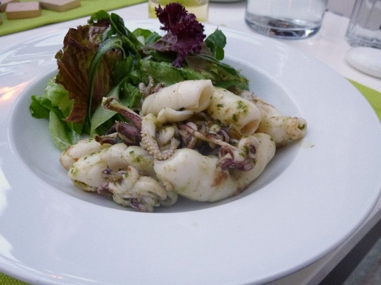 Calamari and pesto salad